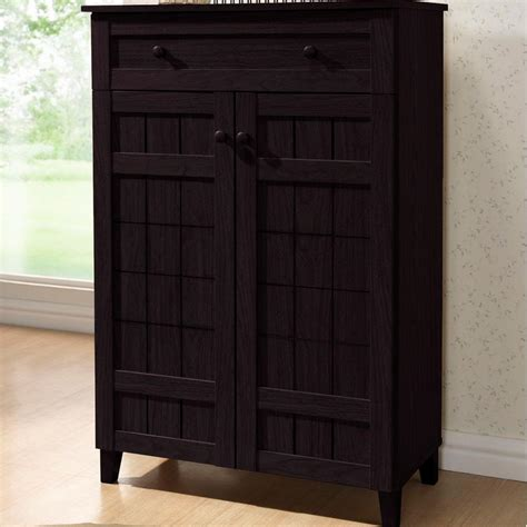 tall shoe cabinet with doors baxton studio glidden dark brown wood tall storage cabinet