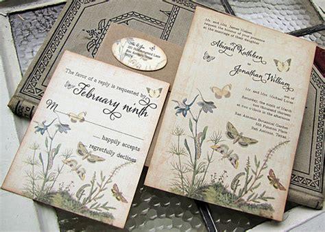 vintage wedding invitations rectangle potrait black
