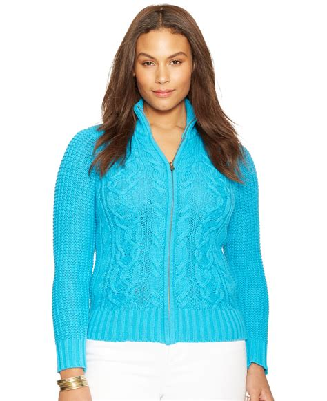 zip front sweater by ralph plus size cable knit zip front