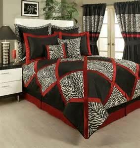 4pc lush red white black animal print pieced comforter set queen king cal king ebay