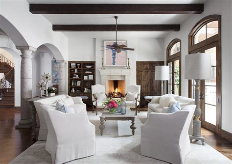 hacienda interiors interior westlake decor living room fireplaces texas montana austin heatherscotthome slideshow