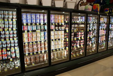 freezer food display case lighting walk  freezer led