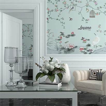 Chinoiserie Dinding Painting Rumah Ruang Solusi Dekorasi