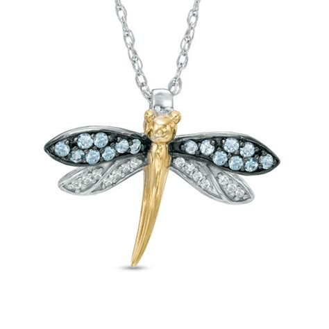 blue topaz  lab created white sapphire dragonfly