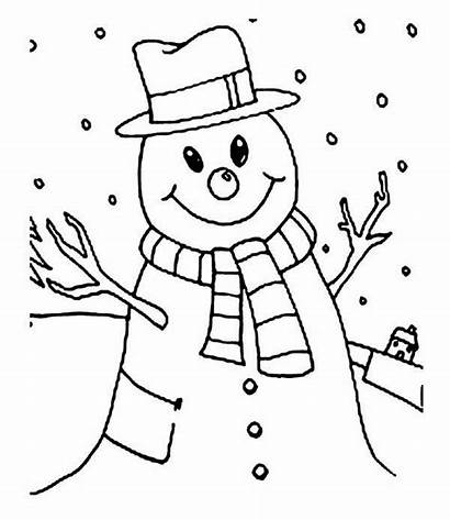 Snowman Coloring Winter Snow Pages Season Smiling