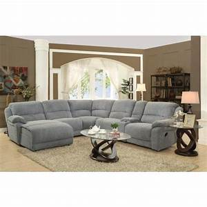 Coaster mackenzie silver 6 piece reclining sectional sofa for Mackenzie chestnut 6 piece reclining sectional sofa with casual style
