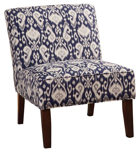 accent seating armless accent chair in navy white ikat