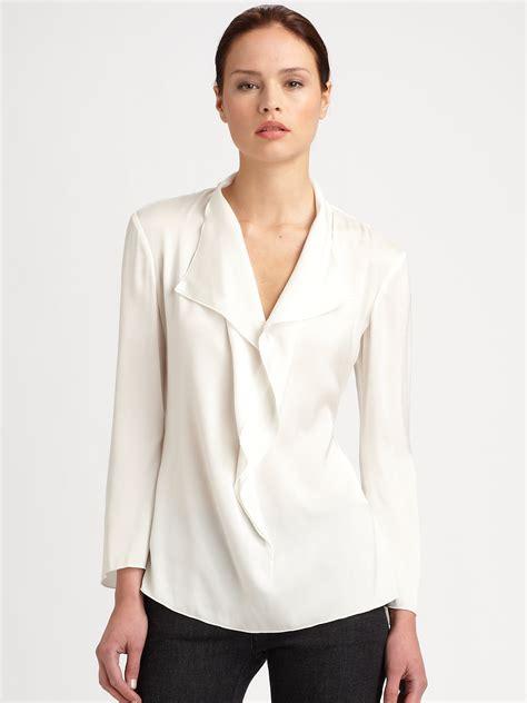 ruffled white blouse armani silk ruffle blouse in white lyst