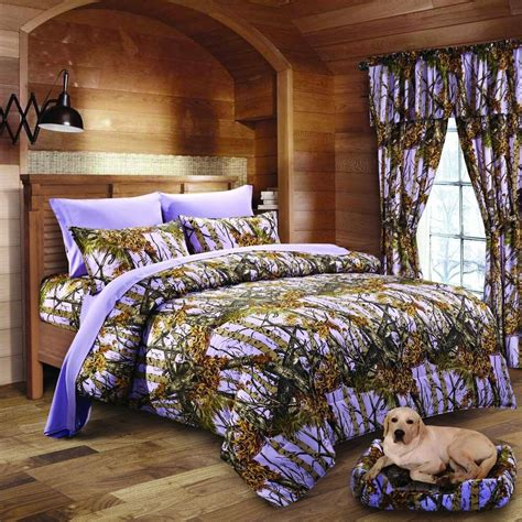 pc lavender camo comforter sheet  curtain set twin