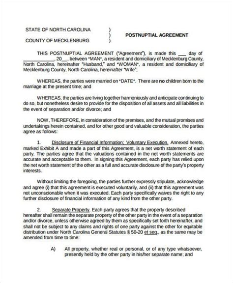 post nuptial agreement template sle postnuptial agreement forms 7 free documents in word pdf
