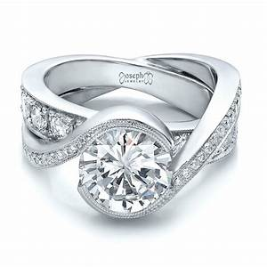 custom interlocking diamond engagement ring 100615 With customizable wedding rings