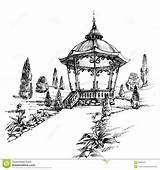 Gazebo Sketch Park Drawing Hand Vector Pergola Gazebos Illustration Shutterstock sketch template