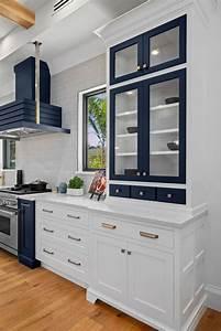 Navy Blue  U0026 White Transitional Kitchen