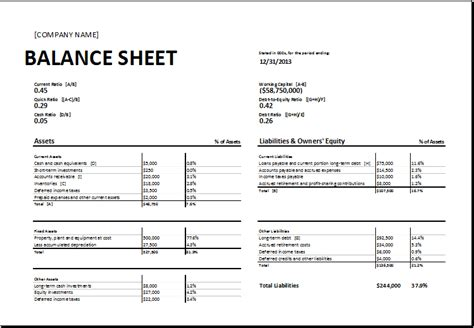 balance sheet templates format  word excel