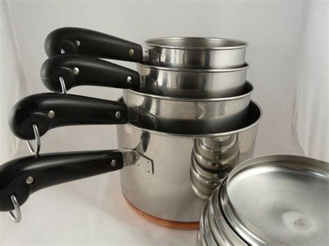 vintage copper bottom revere ware pan set   saltwatertriagevin revere ware vintage copper