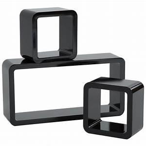 Etagere Cube Noir : tag re murale design tag re murale cube lot de 3 tag res murales tectake noir pour des ~ Teatrodelosmanantiales.com Idées de Décoration