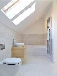 beaucoup d39idees en photos pour une salle de bain beige With salle de bain sous pente