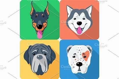 Icon Dog Flat Head Creativemarket Seamless