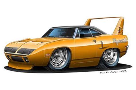 plymouth superbird muscle car cartoon art print ebay