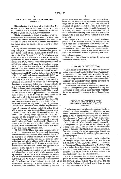 Patent Us5550156 Microbial Oil Mixtures And Uses Thereof