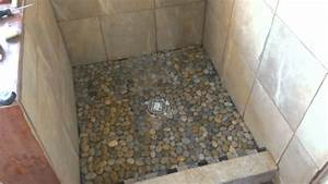Impressive Random Sized River Grey Pebble Shower Floor
