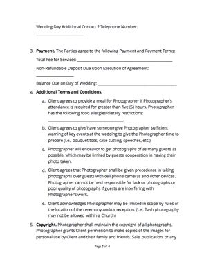 wedding photography contract  sample docsketch