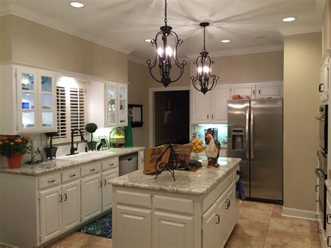 white kitchen cabinets white granite sherwin williams china doll the walls pendant