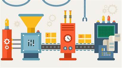 Manufacturing Increase Production Efficiency Productivity Line Illustration