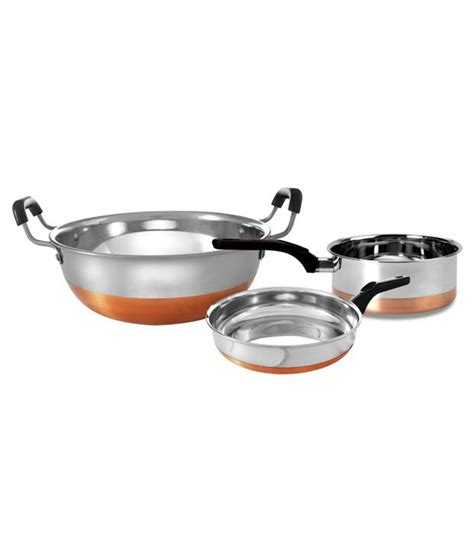 retro kitchen ware  piece copper bottom cookware set buy    price  india snapdeal