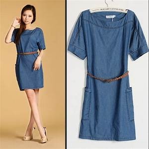 Plus Size New Fashion Womenu0026#39;s Denim dressesBeautiful Ladiesu0026#39; casual dress Blue denim jeans wear ...
