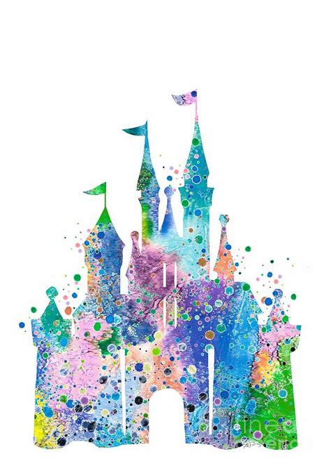 disney castle  watercolor print digital art  svetla
