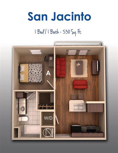 50 plans en 3d d�appartement avec 1 chambres plans