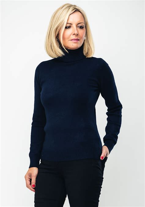deck  decollage ribbed polo neck jumper navy