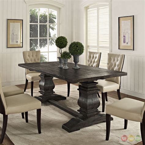 column modern rustic  solid pine wood dining table black