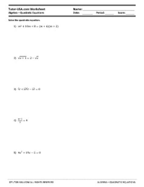 solve quadratic equations worksheet pdf completing the