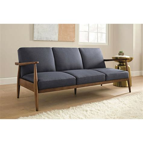 Wooden Frame Sofa Bed by New Mod Mid Century Blue Linen Wood Frame Futon Sleeper