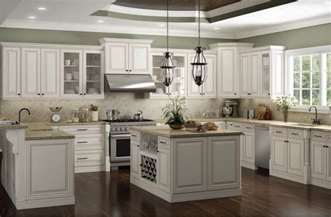 charleston antique white rta kitchen cabinets view