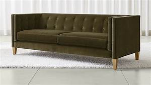 Aidan dark green velvet sofa crate and barrel russcarnahan for Dark green sectional sofa