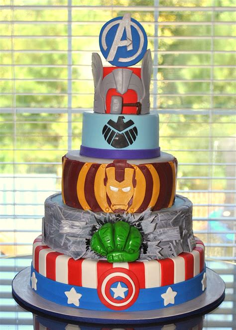 Marvel comic cake includes captian america spidermad the hulk and wolverine scratching threw the cake. Hope's Sweet Cakes: Avengers Cake and Party