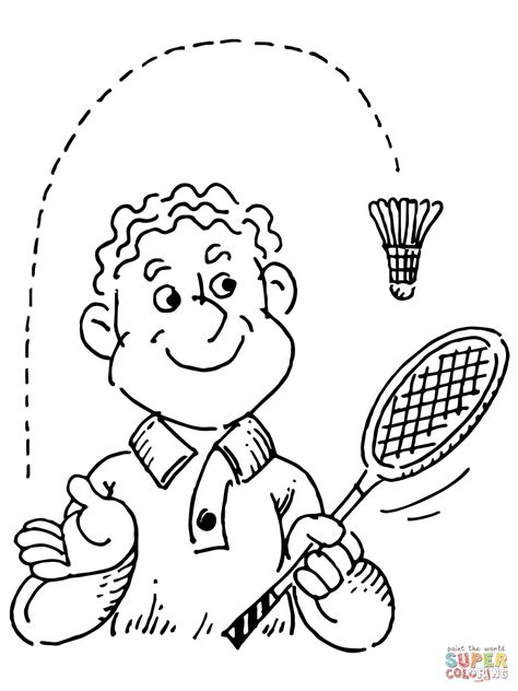 Kleurplaat Badminton by Badminton Player Coloring Page Free Printable Coloring Pages