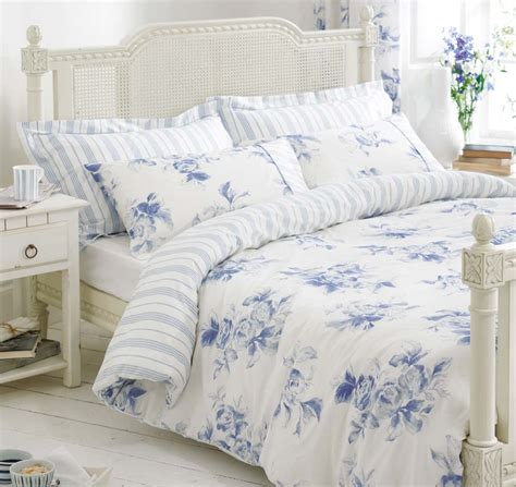 blue white bedding bed linen floral stripe reversible