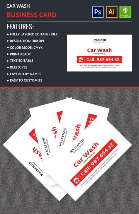 car wash business card template  premium templates