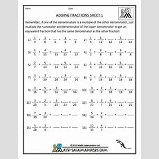 Adding Fractions With Unlike Denominators 1  Math  Fractions Worksheets, Adding Fractions