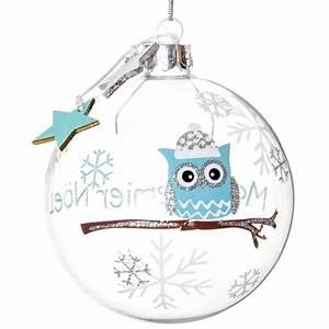Boule Noel Transparente : boule de no l transparente bleue en verre 8 cm baby chouette maisons du monde ~ Melissatoandfro.com Idées de Décoration