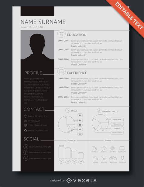 flat design resume template vector
