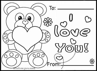 Printable Cards Valentines Teddy Coloring Pages Bears