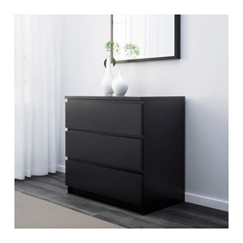 malm chest of 3 drawers black brown 80x78 cm ikea