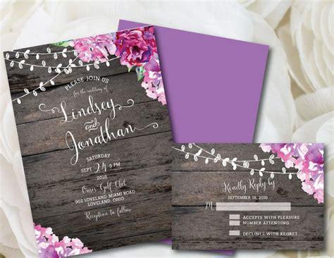 purple wedding invitation rustic wedding invitation