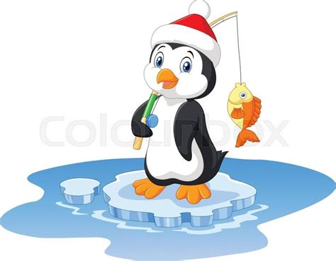 Vector Illustration Of Penguin Fishing On The Lake