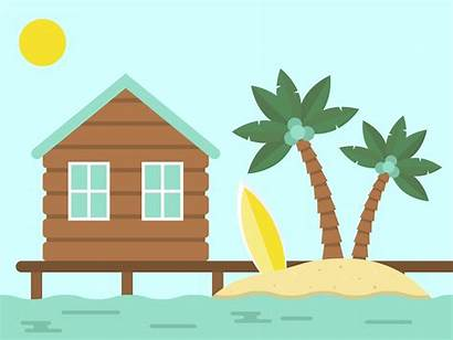 Bungalow Holiday Sea Island Summer Clipart Vector